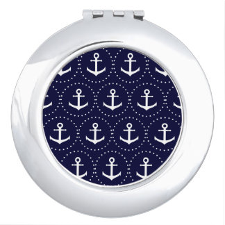 Navy anchor circle pattern travel mirror
