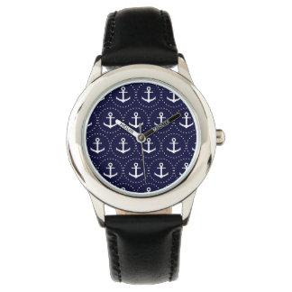 Navy anchor circle pattern watches
