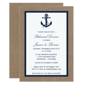 Navy Anchor On Burlap Nautical Rehearsal Dinner Card
