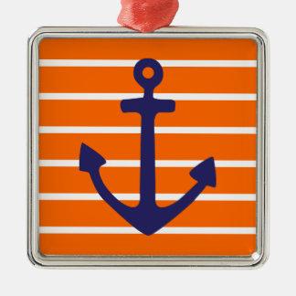 Navy Anchor on Orange Stripe Christmas Ornament