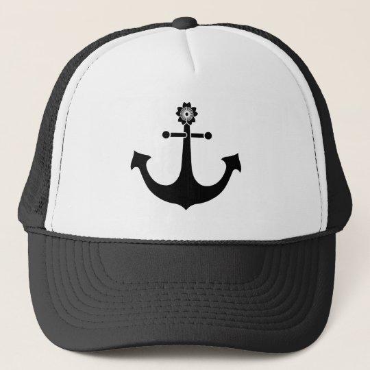 Navy anchor trucker hat