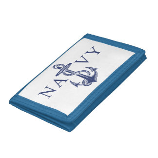Navy Anchor Trifold Wallet