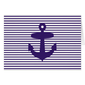Navy Anchor with Blue Breton Stripes Card