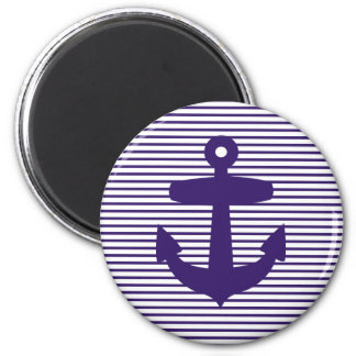 Navy Anchor with Blue Breton Stripes Magnet