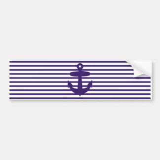 Navy Anchor with Blue Sailor Stripes Bumper Sticker