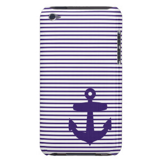 Navy Anchor with Blue Sailor Stripes iPod Case-Mate Cases