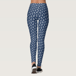 Navy Anchors Aweigh Nautical Print Leggings