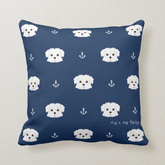 Navy Anchors Maltipoo Puppy Throw Pillow