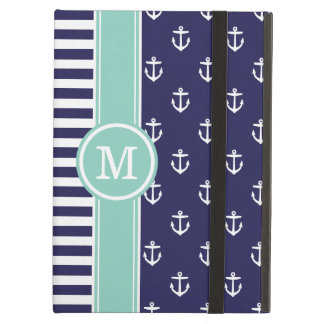 Navy and Aqua Nautical Anchors Monogram Case For iPad Air