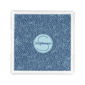 Navy and Baby Blue Monogrammed Dash Marks