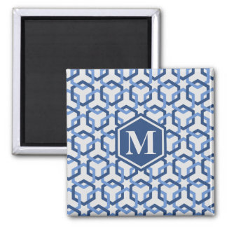 Navy and Blue Linked Hexes Magnet