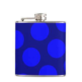 Navy and Blue Polka Dots Hip Flask