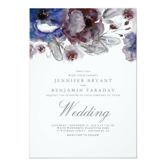 Navy and Burgundy Watercolor Floral Wedding Card