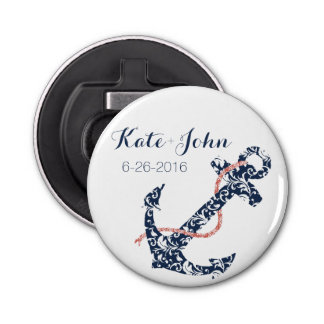 Navy and Coral Anchor Beach Wedding Bottle Opener