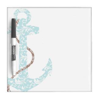 Navy and Coral Anchor Beach Wedding Dry Erase Board