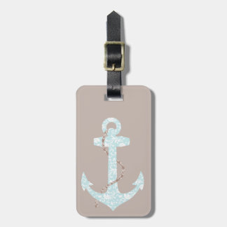 Navy and Coral Anchor Beach Wedding Luggage Tag