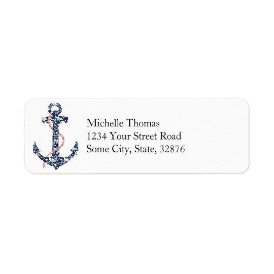Navy and Coral Anchor Beach Wedding Return Address Label