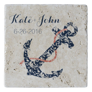 Navy and Coral Anchor Beach Wedding Trivets