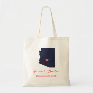 Navy and Coral Arizona Wedding Welcome Tote Bag