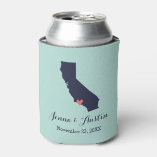 Navy and Coral California Wedding Favor Can Cooler