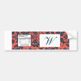 Navy and Coral Damask Wedding Water Bottle Label Bumper Sticker
