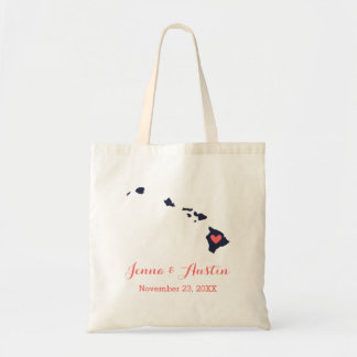 Navy and Coral Hawaii Wedding Welcome Tote Bag