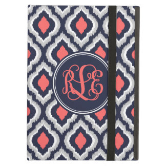 Navy and Coral Ikat Moroccan Script Monogram iPad Air Cases