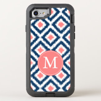 Navy and Coral Ikat Pattern Monogrammed OtterBox Defender iPhone 8/7 Case