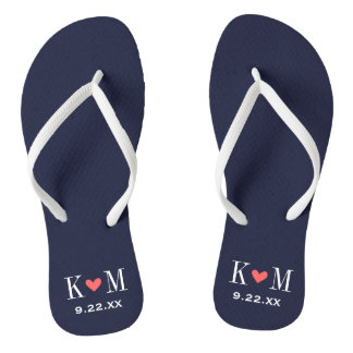 Navy and Coral Modern Wedding Monogram Flip Flops