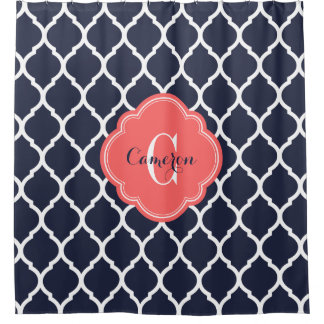 Navy and Coral Moroccan Quatrefoil Monogram Shower Curtain