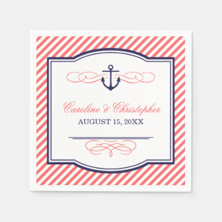 Navy and Coral Nautical Anchor Wedding Monogram Disposable Napkin