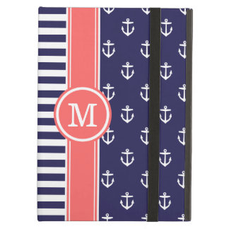 Navy and Coral Nautical Anchors Monogram iPad Air Case