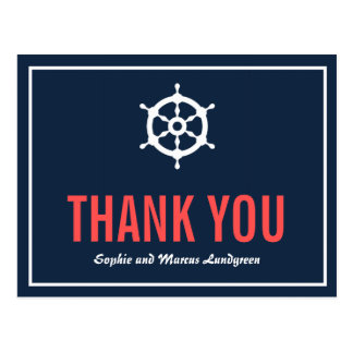 Navy and Coral Nautical Helm Thank You Postcard