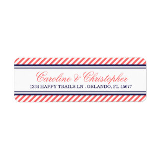 Navy and Coral Nautical Wedding Address Labels