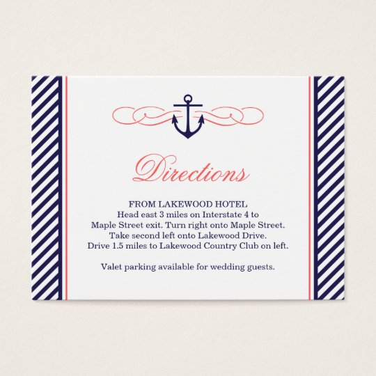 Navy and Coral Nautical Wedding Insert Card