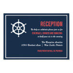 Navy and Coral Nautical Wedding Reception Card Personalised Invite