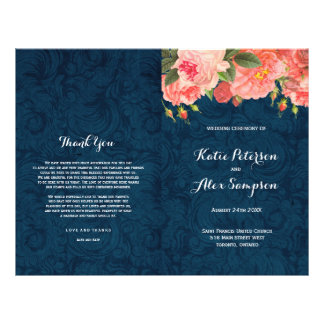 Navy and Coral Shabby Chic Floral Wedding Programs Flyer