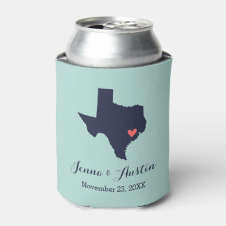 Navy and Coral Texas Wedding Favor Can Cooler