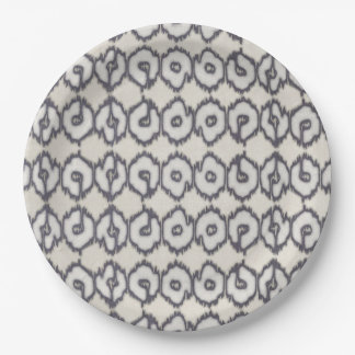 Navy and Cream IKAT Paper Plate 9 Inch Paper Plate