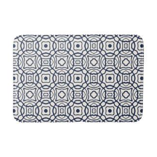 Navy and Cream Quatrefoil Block Print Pattern Bath Mat