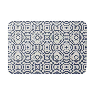 Navy and Cream Quatrefoil Block Print Pattern Bath Mats