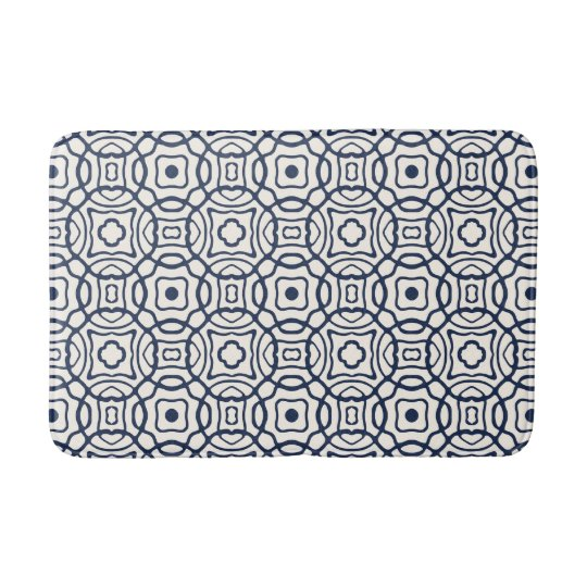 Navy and Cream Quatrefoil Block Print Pattern Bath