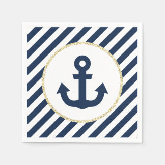 Navy and Gold Anchor Napkins Disposable Serviette