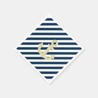 Navy and Gold Anchor Napkins Disposable Serviettes