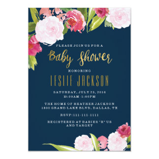 Navy and Gold Baby Shower Invitation