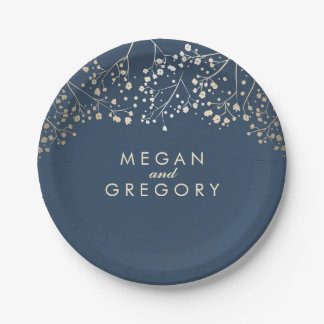 Navy and Gold Baby's Breath Wedding Paper Plate