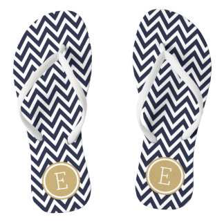 Navy and Gold Chevron Monogram Flip Flops