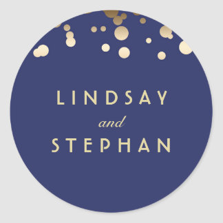 Navy and Gold Confetti Wedding Round Sticker