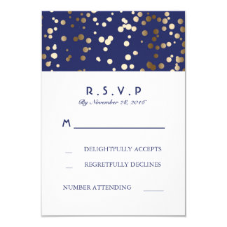 Navy and Gold Confetti Wedding RSVP Cards