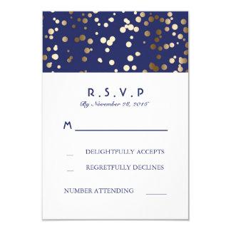 Navy and Gold Confetti Wedding RSVP Cards 9 Cm X 13 Cm Invitation Card